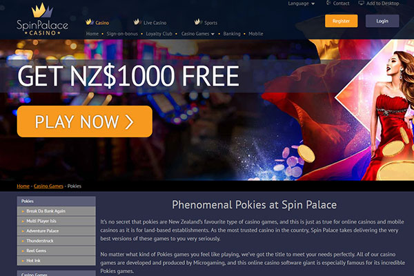 Spin Palace NZ home