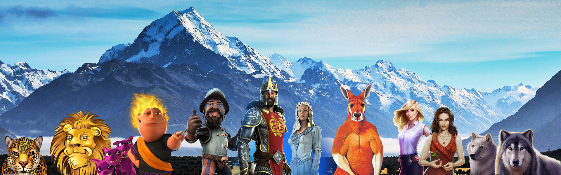NZ online slot characters in teh New Zealand mountains