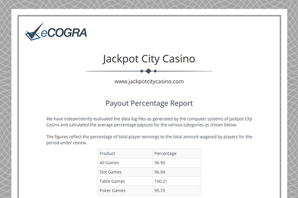 CAsino Payout RTP from eCOGRA