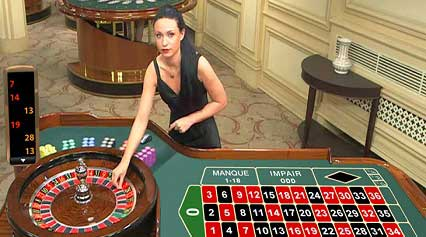 Live Roulette croupier and table